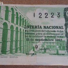 Lotería Nacional: BILLETE LOTERIA NACIONAL Nº 12223 - 15 SEPTIEMBRE 1962 - SORTEO Nº 26. Lote 191210618