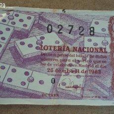 Lotería Nacional: BILLETE LOTERIA NACIONAL Nº 02728 - 25 ABRIL 1963 - SORTEO Nº 12. Lote 191211076