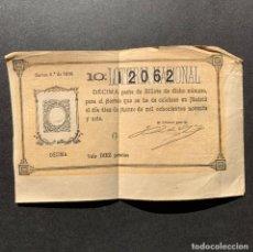 Lotería Nacional: AÑO 1896 LOTERIA NACIONAL - DÉCIMO - SORTEO Nº 6 DE 1896 - LUGO - RIBADEO. Lote 191319197