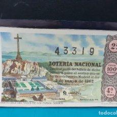 Lotería Nacional: LOTERIA NACIONSL DEL AÑO 1962 SORTEO 13. Lote 191339087