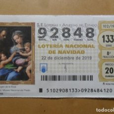 Lotería Nacional: DECIMO - Nº 92848 - 22 DICIEMBRE 2019 - 102/19 - LA VIRGEN DE LA ROSA, RAFAEL - EL PRADO. Lote 191688308