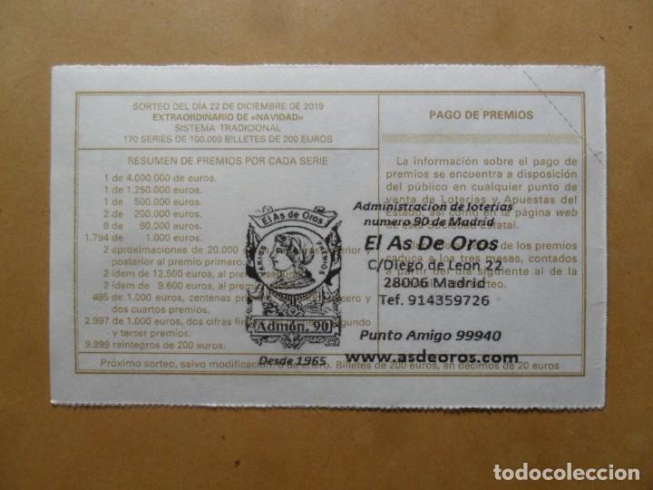 Lotería Nacional: DECIMO - Nº 93449 - 22 DICIEMBRE 2019 - 102/19 - LA VIRGEN DE LA ROSA, RAFAEL - EL PRADO - Foto 2 - 191688880