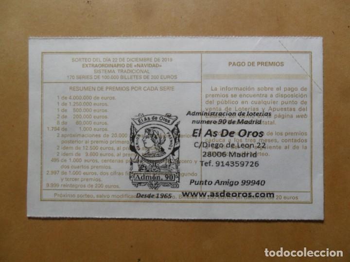 Lotería Nacional: DECIMO - Nº 93449 - 22 DICIEMBRE 2019 - 102/19 - LA VIRGEN DE LA ROSA, RAFAEL - EL PRADO - Foto 2 - 191688945