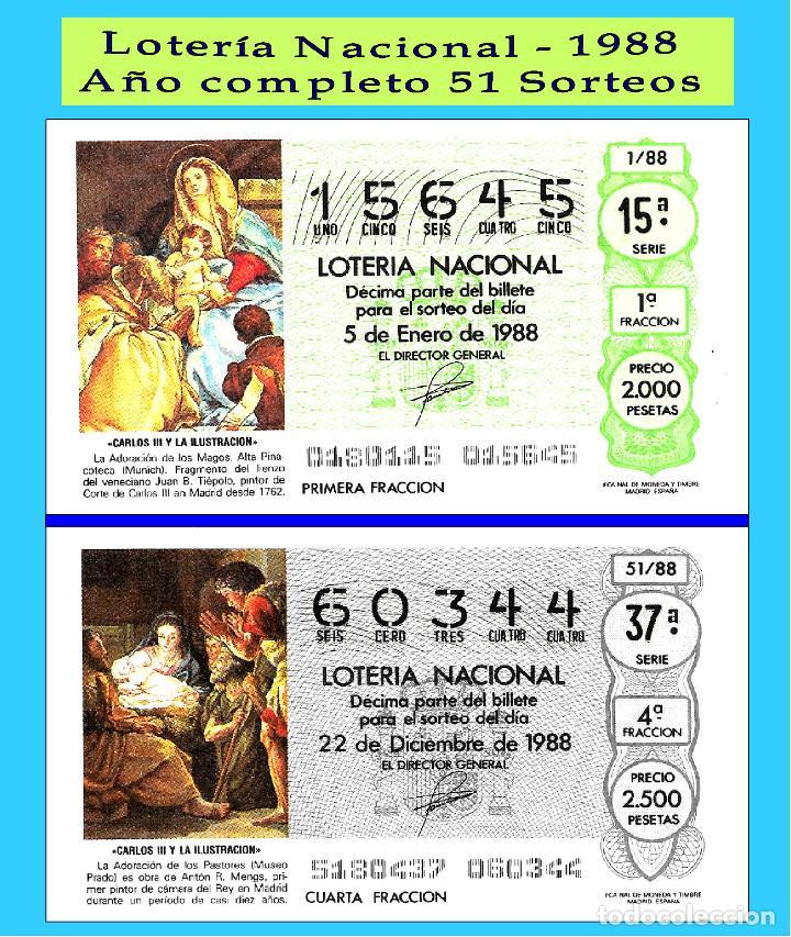 1988 LOTERÍA NACIONAL.- AÑO COMPLETO SÁBADOS / CALIDAD MUY BUENA, DISPONGO DE OTROS AÑOS (Coleccionismo - Lotería Nacional)