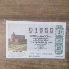 Lotteria Nationale Spagnola: MFF.- LOTERIA NACIONAL.- BELLEZAS DE ESPAÑA.-CASTILLO DE SIMANCAS, VALLADOLID.-Nº01655.-11-11-1989.-. Lote 191786082