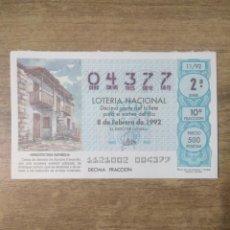 Lotería Nacional: MFF.- LOTERIA NACIONAL.- ARQUITECTURA ESPAÑOLA.- IFONCHE (TENERIFE).- Nº 04377.- 8-2-1992.-. Lote 191824755