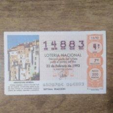 Lotería Nacional: MFF.- LOTERIA NACIONAL.- ARQUITECTURA ESPAÑOLA.- HUECAR (CUENCA).- Nº 14883.- 22-2-1992.-. Lote 191824853