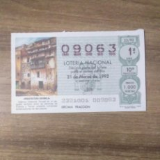 Lotería Nacional: MFF.- LOTERIA NACIONAL.- ARQUITECTURA ESPAÑOLA.- ADEMUZ (VALENCIA).- Nº 09063.- 21-3-1992.-. Lote 191825136