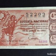 Lotería Nacional: LOTERIA AÑO 1964 SORTEO 18. Lote 191825192