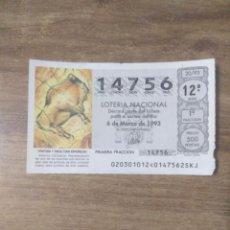 Lotería Nacional: MFF.- LOTERIA NACIONAL.- PINTURA Y ESCULTURA ESPAÑOLA.- ALTAMIRA (CANTABRIA).- Nº 92805.-6-3-1993.- . Lote 191825665