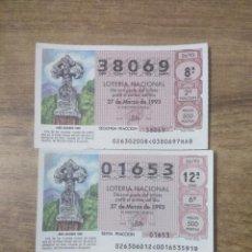 Lotería Nacional: MFF.- LOTERIA NACIONAL.- AÑO JACOBEO 1993.- CRUZ DE PIEDRA GUIA PARA EL PEREGRINO.- Nº 38069-01653.-. Lote 191826356