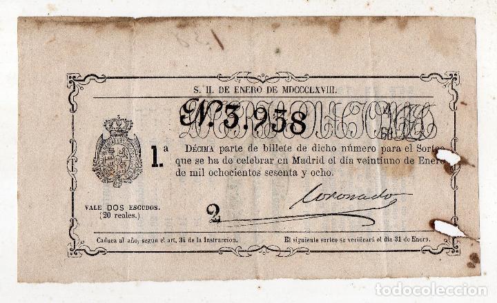 DÉCIMO. SORTEO Nº 2 DE ENERO DE 1868. (Coleccionismo - Lotería Nacional)