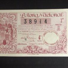 Lotaria Nacional: LOTERIA AÑO 1943 SORTEO 4. Lote 192269603