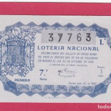 Loterie Nationale: LOTERIA SORTEO 30 DE 1946. Lote 192622070