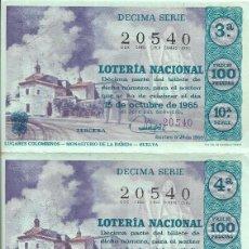 Loterie Nationale: == PH1439 - TRES DECIMOS DE LOTERIA - 15 DE OCTUBRE DE 1965. Lote 192931706