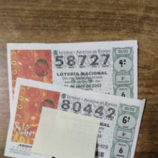 Lotteria Nationale Spagnola: MFF.- LOTERIA NACIONAL.- RIBEREXPO 2003. PEÑAFIEL (VALLADOLID).- Nº 58727-80442.- 12-4-2003.-. Lote 193270685