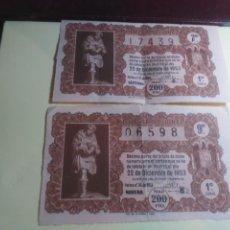 Lotería Nacional: LOTE DE DOS DECIMOS DE LOTERIA NACIONAL AÑO 1953 BBB-20. Lote 193449493