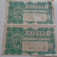 Lotería Nacional: 2 DECIMOS SORTEO LOTERIA NACIONAL 25 FEBRERO 1949. Lote 193678117