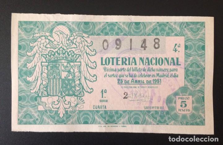 LOTERIA NACIONAL, AÑO 1951 SORTEO 12 (Coleccionismo - Lotería Nacional)