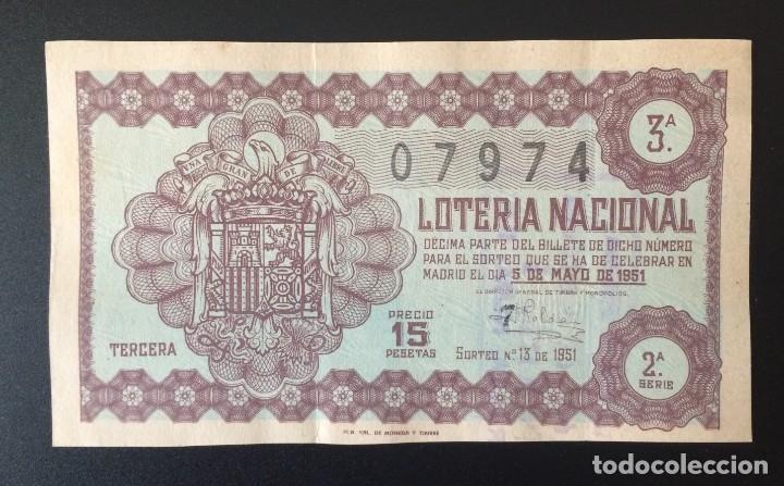 LOTERIA NACIONAL, AÑO 1951 SORTEO 13 (Coleccionismo - Lotería Nacional)