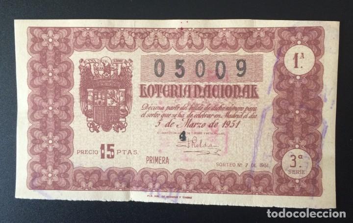 LOTERIA NACIONAL, AÑO 1951 SORTEO 07 (Coleccionismo - Lotería Nacional)