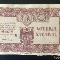 Lotería Nacional: LOTERIA NACIONAL, AÑO 1951 SORTEO 19. Lote 194243120