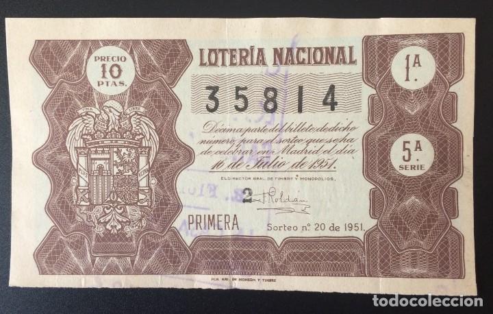 LOTERIA NACIONAL, AÑO 1951 SORTEO 20 (Coleccionismo - Lotería Nacional)