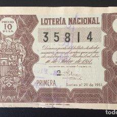 Lotería Nacional: LOTERIA NACIONAL, AÑO 1951 SORTEO 20. Lote 194243575