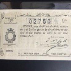 Lotería Nacional: LOTERIA AÑO 1910 SORTEO 11. Lote 194270456