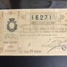 Lotería Nacional: LOTERIA AÑO 1910 SORTEO 15. Lote 194270642