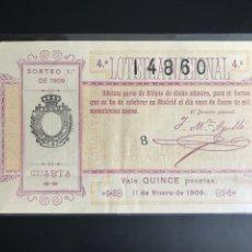 Lotería Nacional: LOTERIA AÑO 1909 SORTEO 1. Lote 194275445