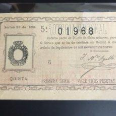 Lotería Nacional: LOTERIA AÑO 1909 SORTEO 26. Lote 194279713