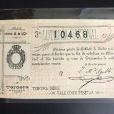 Lotería Nacional: LOTERIA AÑO 1909 SORTEO 35. Lote 194280235