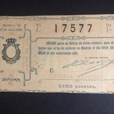 Lotería Nacional: LOTERIA AÑO 1906 SORTEO 18. Lote 194309066