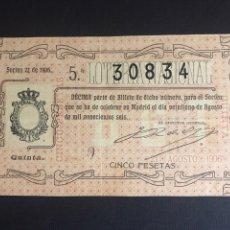Lotería Nacional: LOTERIA AÑO 1906 SORTEO 22. Lote 194309108