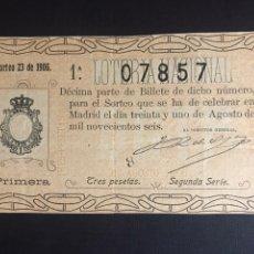 Lotería Nacional: LOTERIA AÑO 1906 SORTEO 23. Lote 194309187