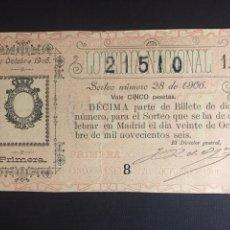 Lotería Nacional: LOTERIA AÑO 1906 SORTEO 28. Lote 194309261