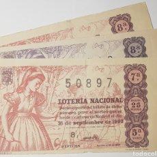 Lotería Nacional: LOTERIA. LOTE DE 13 DECIMOS. 9 DE 1952, MAS 4 DE 1963.. Lote 194321655