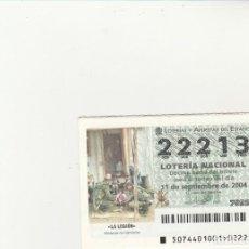 Lotería Nacional: LOTERIA NACIONAL 2004 SORTEO Nº 74 NUMERO 22213. Lote 194327804