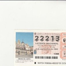 Lotería Nacional: LOTERIA NACIONAL 2004 SORTEO Nº 72 NUMERO 22213. Lote 194327890