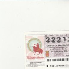 Lotería Nacional: LOTERIA NACIONAL 2004 SORTEO Nº 64 NUMERO 22213. Lote 194328222