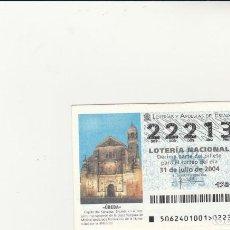Lotería Nacional: LOTERIA NACIONAL 2004 SORTEO Nº 62 NUMERO 22213. Lote 194328445
