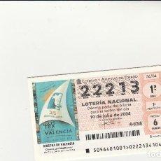 Lotería Nacional: LOTERIA NACIONAL 2004 SORTEO Nº 56 NUMERO 22213. Lote 194328793