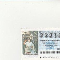 Lotería Nacional: LOTERIA NACIONAL 2004 SORTEO Nº 54 NUMERO 22213. Lote 194328866