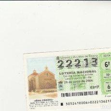 Lotería Nacional: LOTERIA NACIONAL 2004 SORTEO Nº 52 NUMERO 22213. Lote 194328953