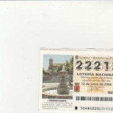 Lotería Nacional: LOTERIA NACIONAL 2004 SORTEO Nº 48 NUMERO 22213. Lote 194329134