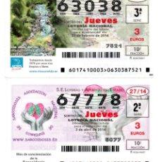 Lotería Nacional: LOTERIA NACIONAL DEL JUEVES - AÑO 2014 - SORTEOS 17 Y 27. Lote 194395436