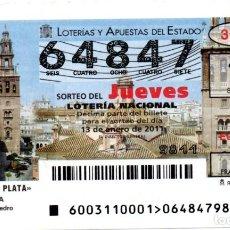 Lotería Nacional: LOTERIA NACIONAL DEL JUEVES - AÑO 2011 - SORTEO Nº 3. Lote 194400000