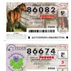 Lotería Nacional: LOTERIA NACIONAL DEL JUEVES - AÑO 2013 . SORTEOS 15 - 17 - 85 Y 97. Lote 194400070
