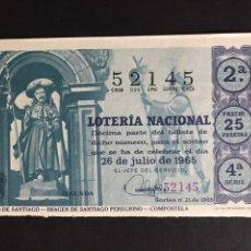 Lotería Nacional: LOTERIA AÑO 1965 SORTEO 21. Lote 194516026